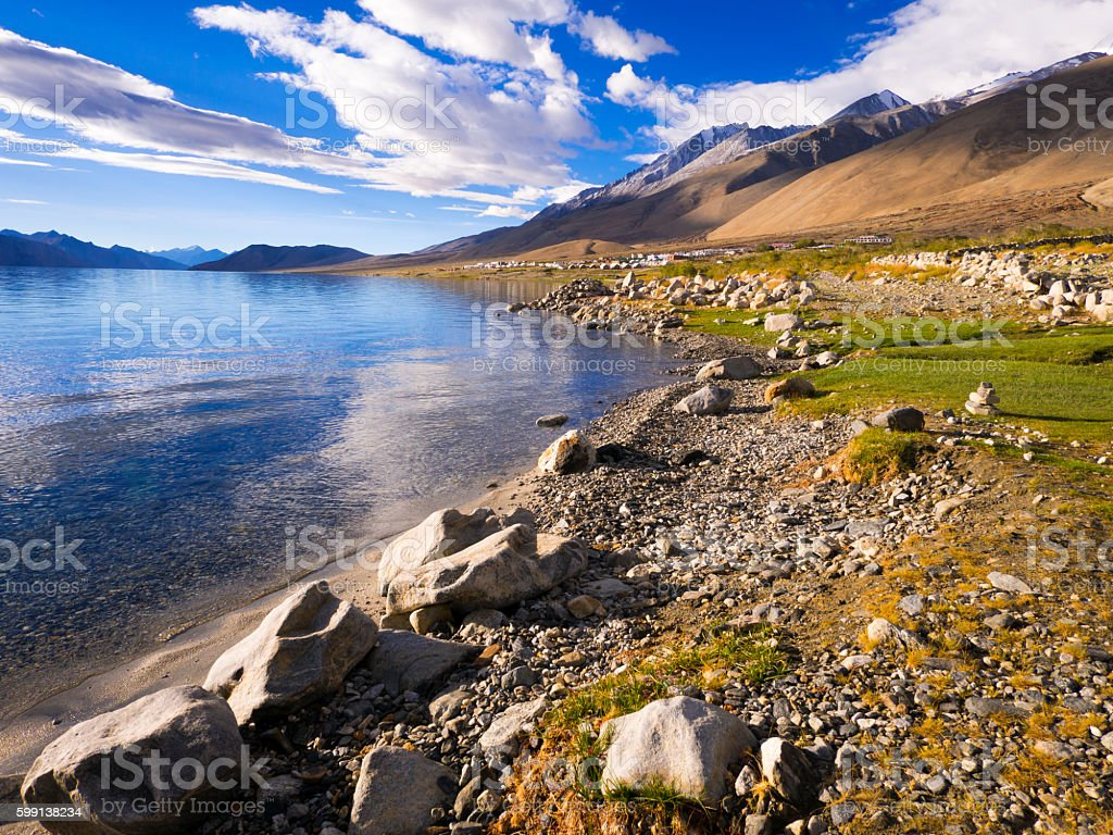 Pangong tso Lake, Ladakh, Jammu and Kashmir, India stock photo