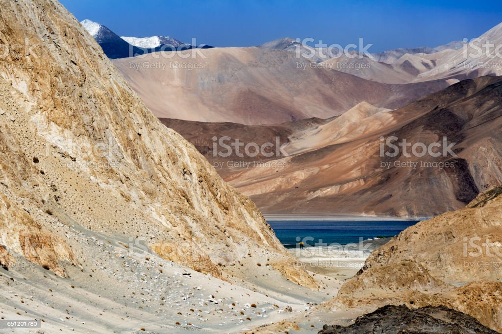 Pangong Tso Tibetan for 'high grassland lake'u201d,Pangong Lake, is an endorheic lake in the Himalayas situated at a height of about 4,350 m (14,270 ft) stock photo