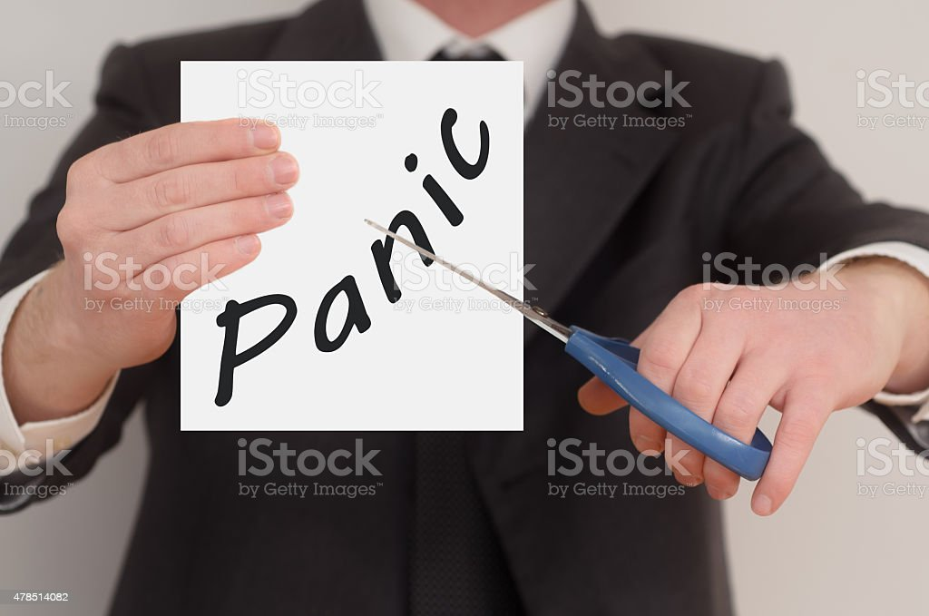 Panic, determined man healing bad emotions stock photo