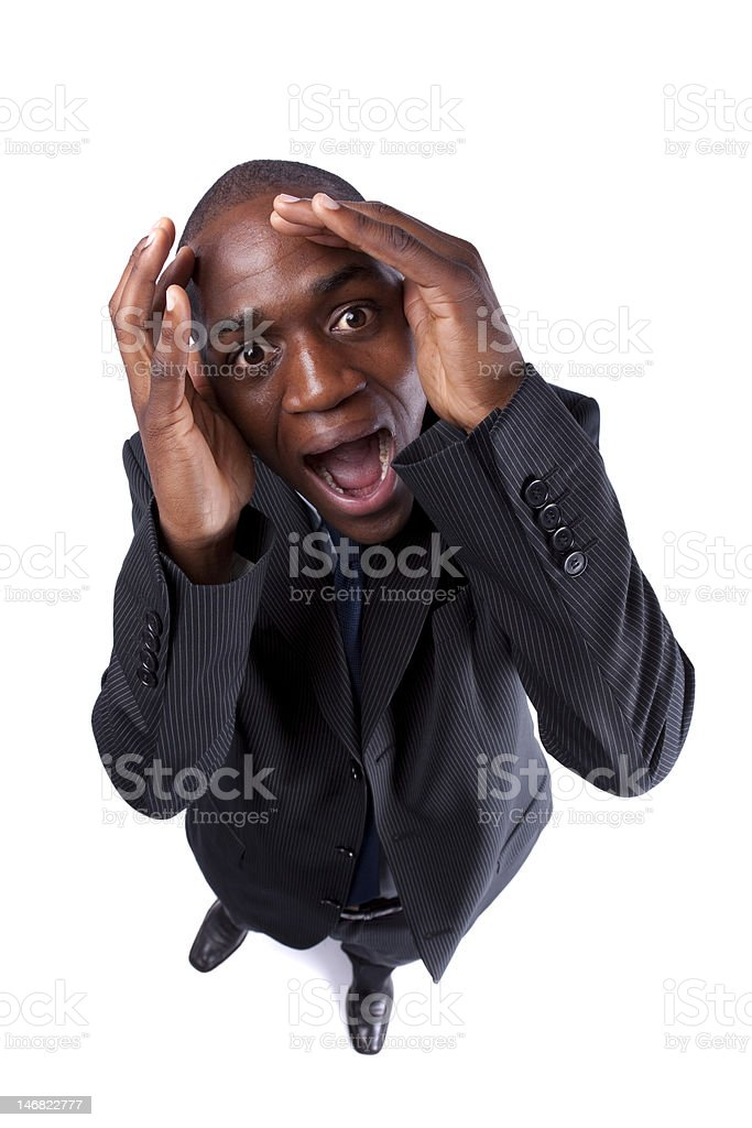 Panic from an african businessman royalty-free stock photo