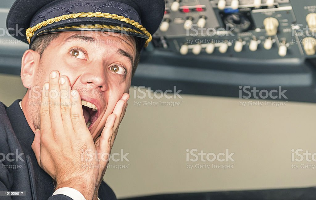 Panic in the airplane with pilot screaming for sudden failure stock photo
