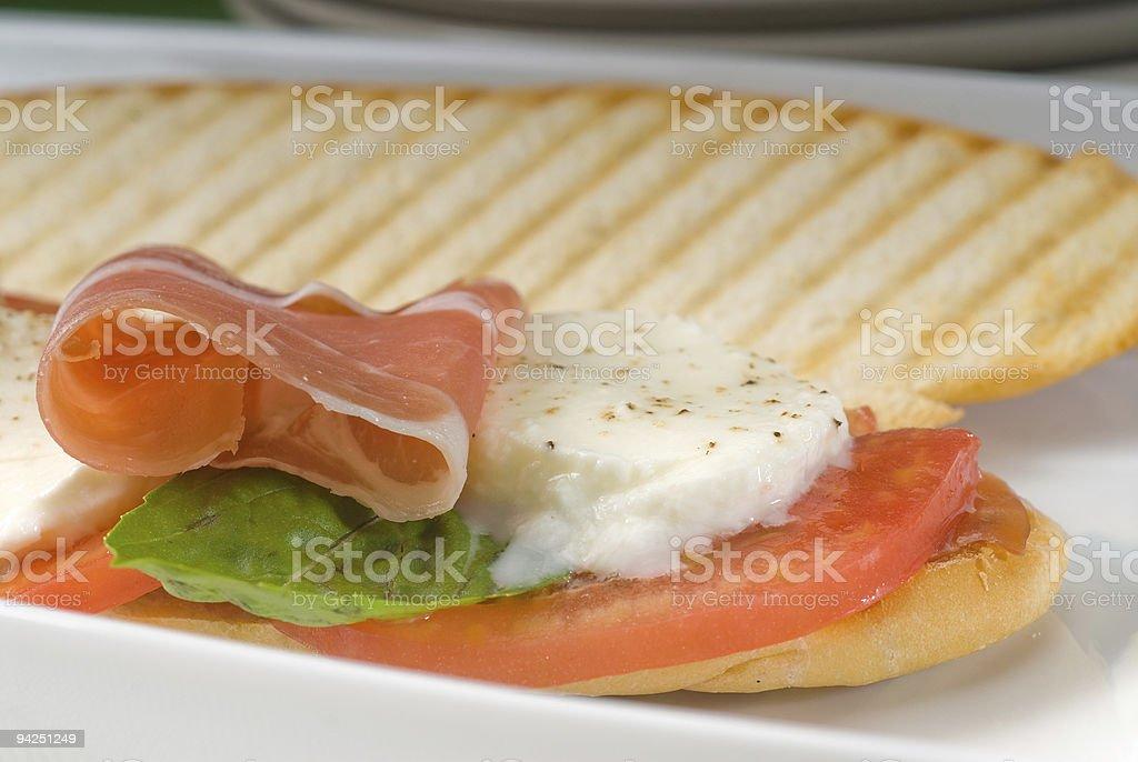 panini caprese and parma ham royalty-free stock photo