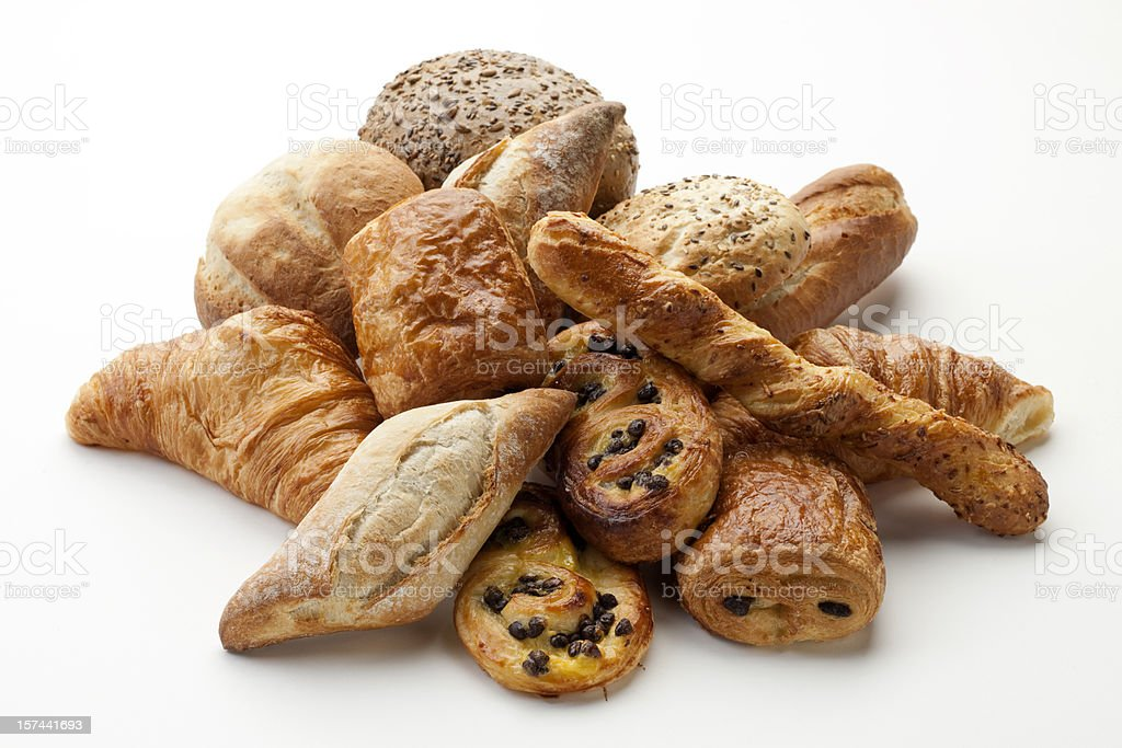 panini, croissants, Danish, pain au chocola, whole wheat buns XXXL stock photo