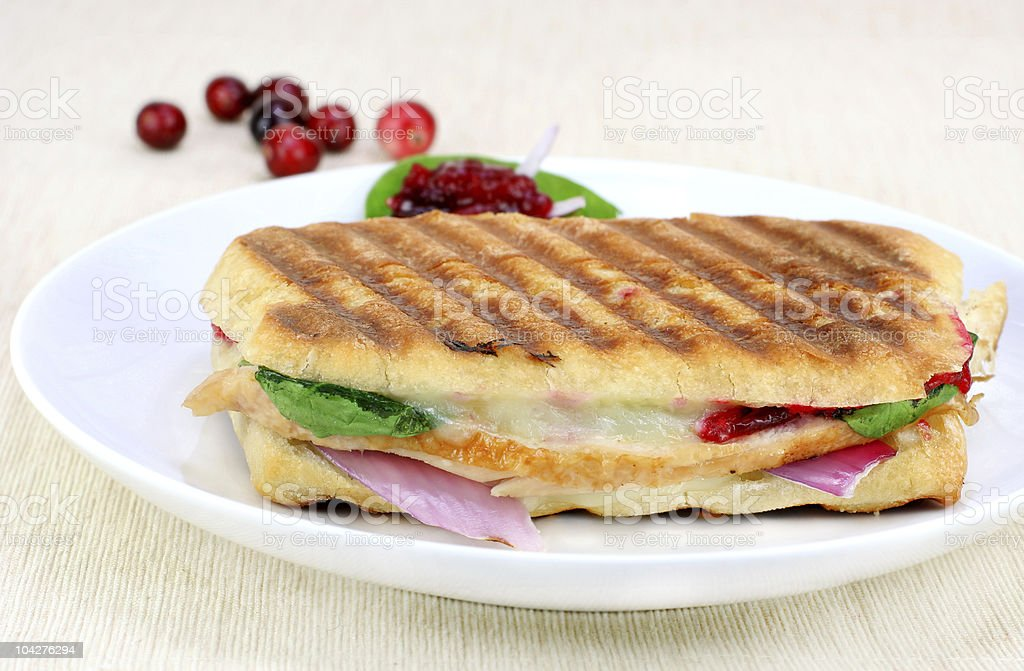 Panini sandwich of fresh turkey, spinach, melted cheese and cranberries stock photo