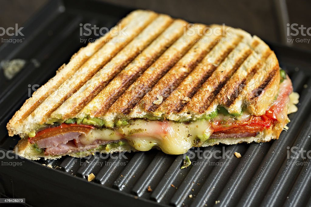 Panini Sandwich On The Grill stock photo