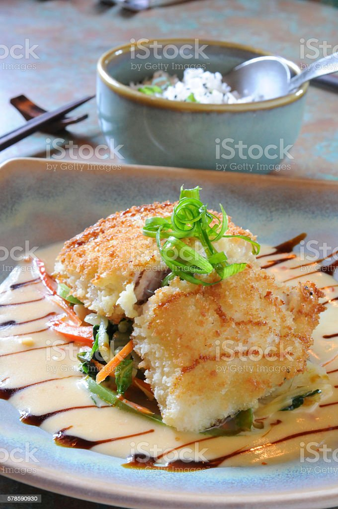 Panko-Crusted Red Snapper stock photo