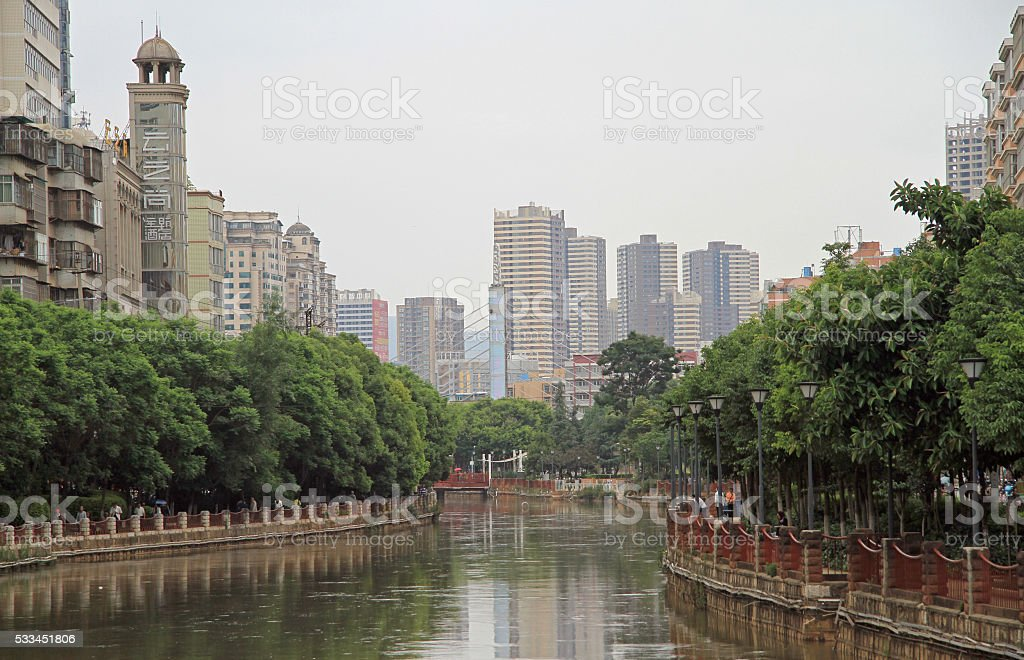 Panlong River in the center of Kunming city stock photo