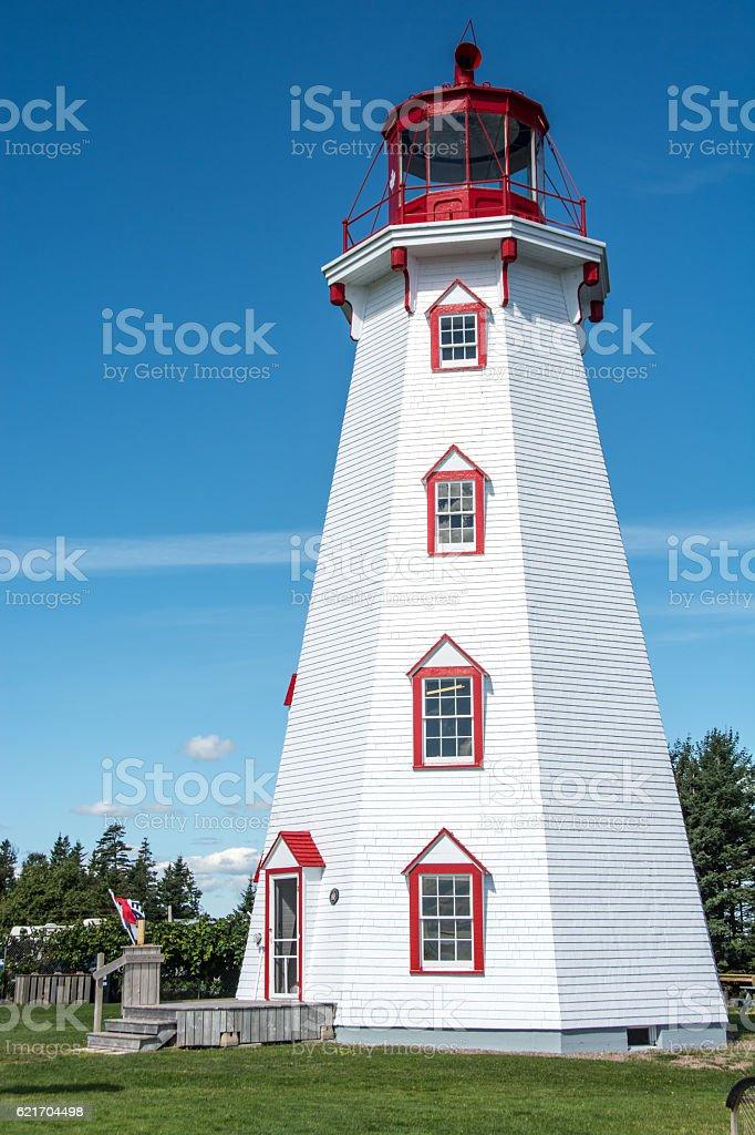 Panmure Lighthouse on Prince Edward Island stock photo