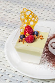 Panna cotta with berries and nuts on a white plate