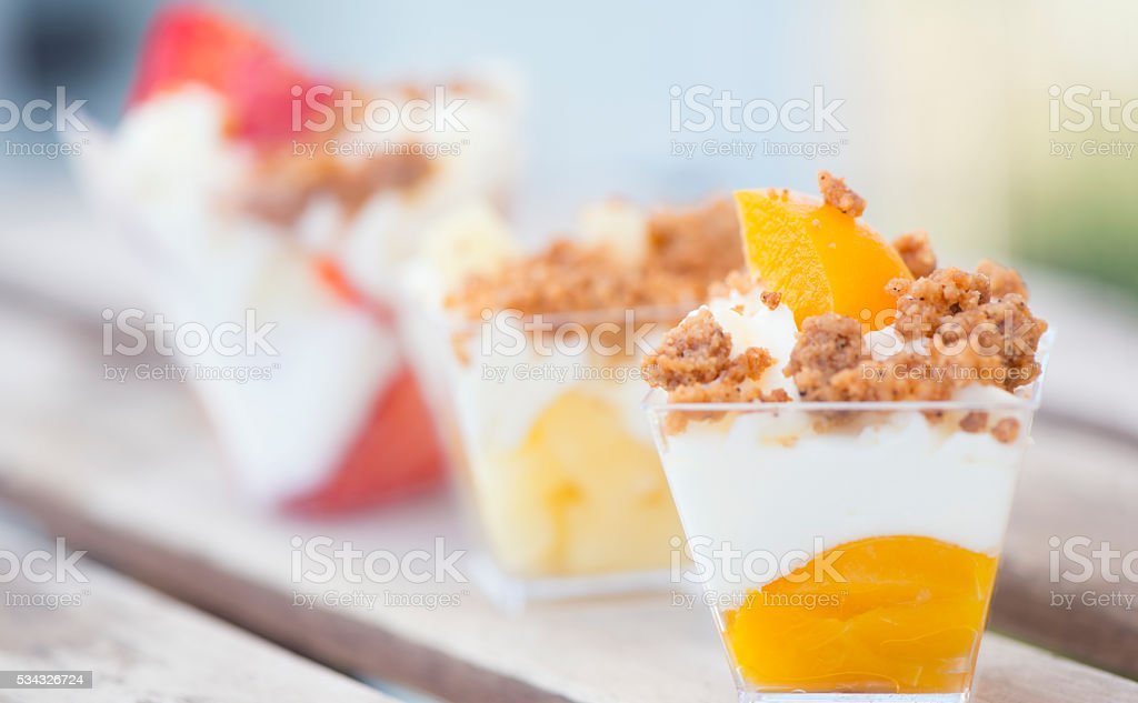 Panna cotta with cookie crumbs. stock photo