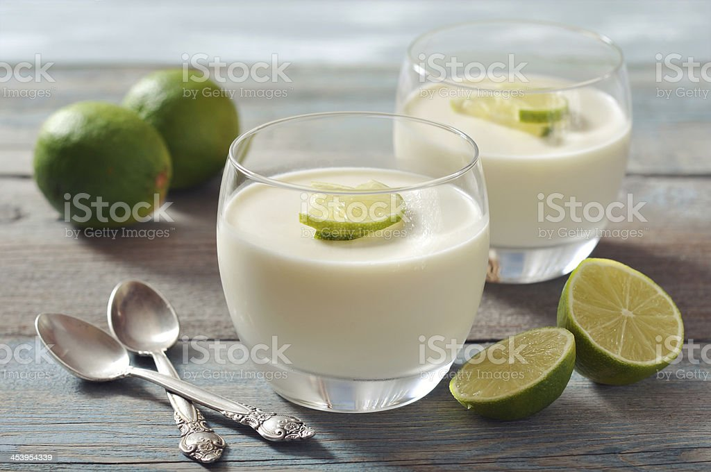 Panna cotta with fresh lime stock photo