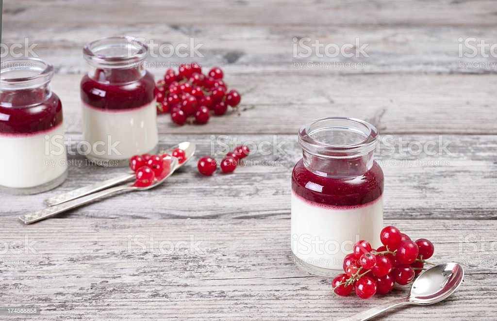 Panna cotta with fresh red currants royalty-free stock photo