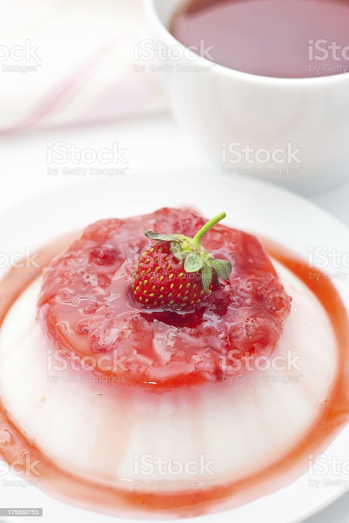 Panna cotta with strawberry jam royalty-free stock photo