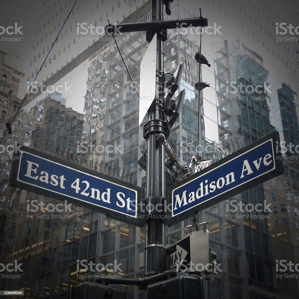 Panneau directionnel ? Manhattan stock photo