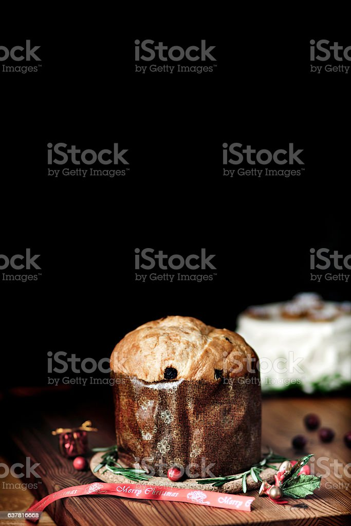 Pannetone bread ready to be served for Christmas stock photo