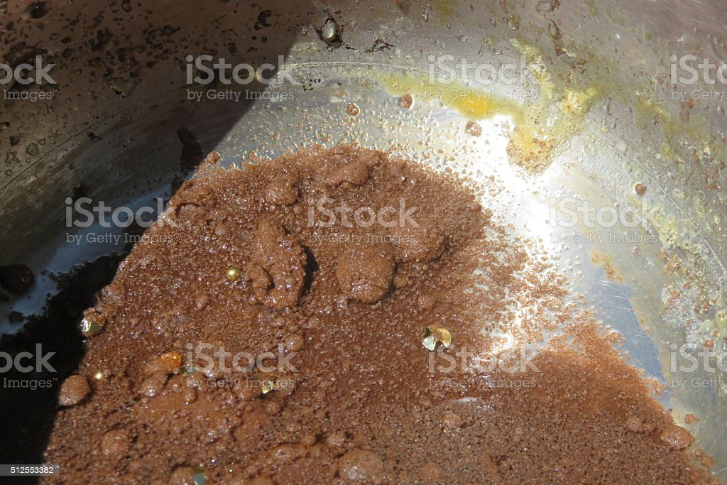 Panning for Gold close up stock photo