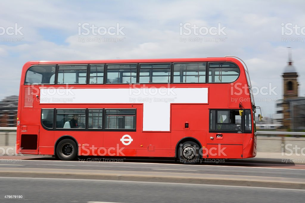 Panning Shot of London Bus stock photo