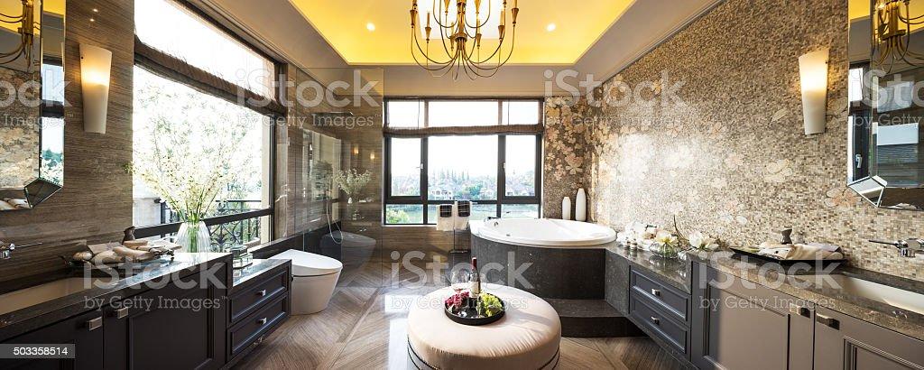 pano interior of modern bathroom stock photo