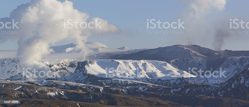 Panoram picture of Volcano Eruption in Iceland stock photo