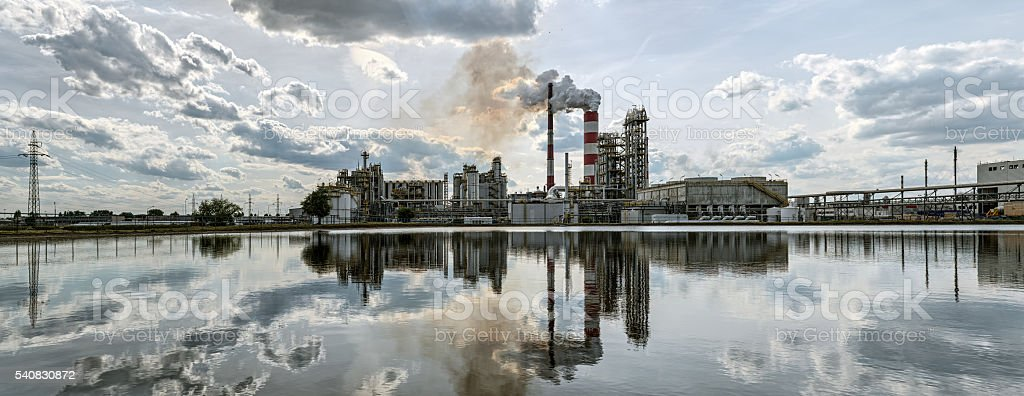 Panorama a refinery in a sunny day. stock photo