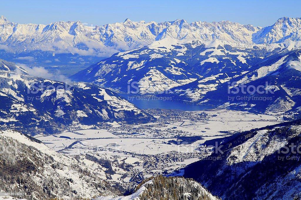 Panorama above Kaprun, Kitzbuhel Alps and Tirol, Austria stock photo