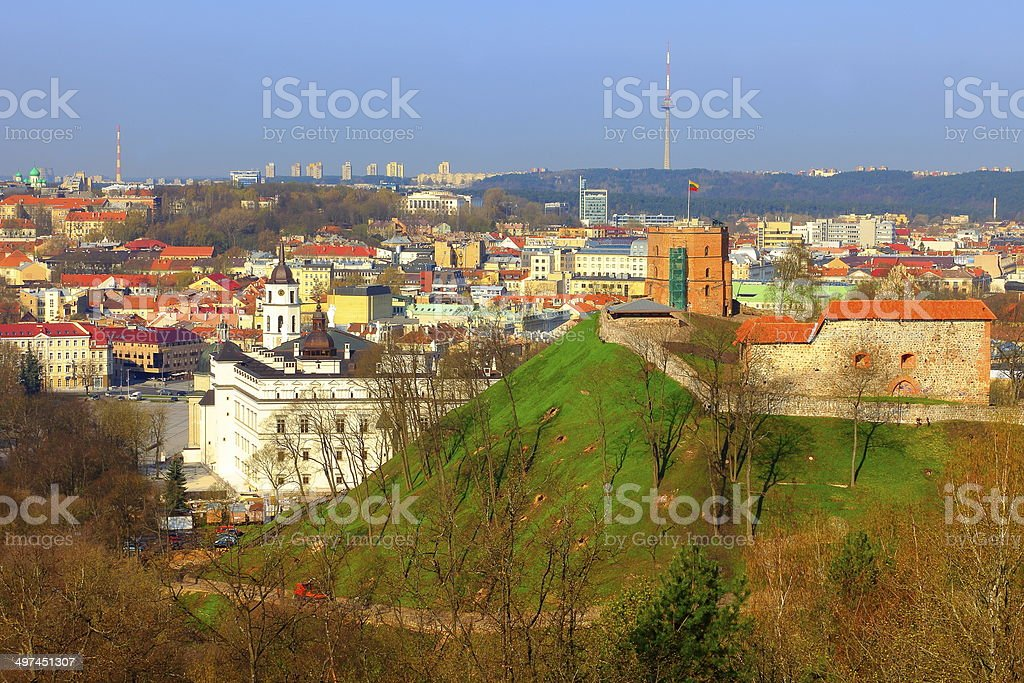Panorama Above Vilnius baroque churchs and fort, Lithuania, Baltics stock photo
