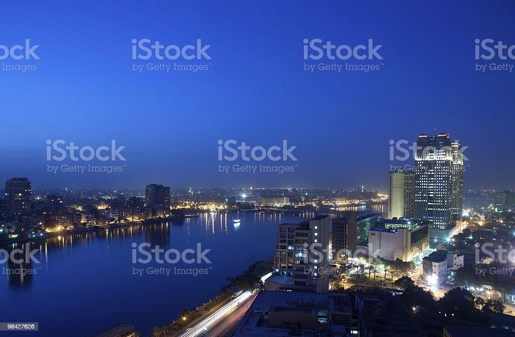 Panorama across Cairo skyline at night royalty-free stock photo