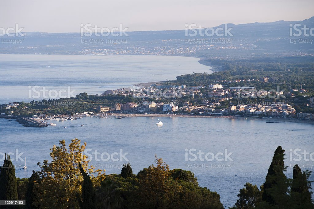 Panorama aerial on sea and houses of sicilian coast royalty-free stock photo