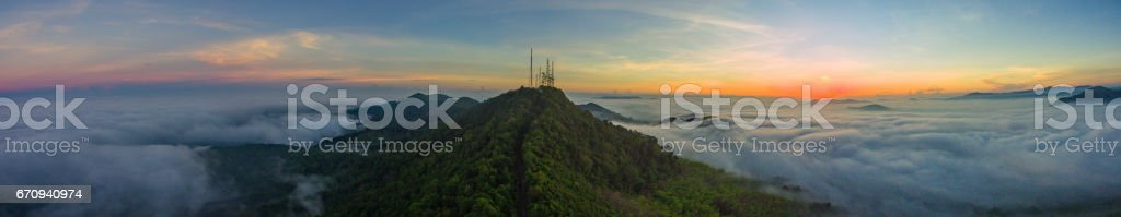Panorama aerial view from drone beautiful fog in the morning stock photo