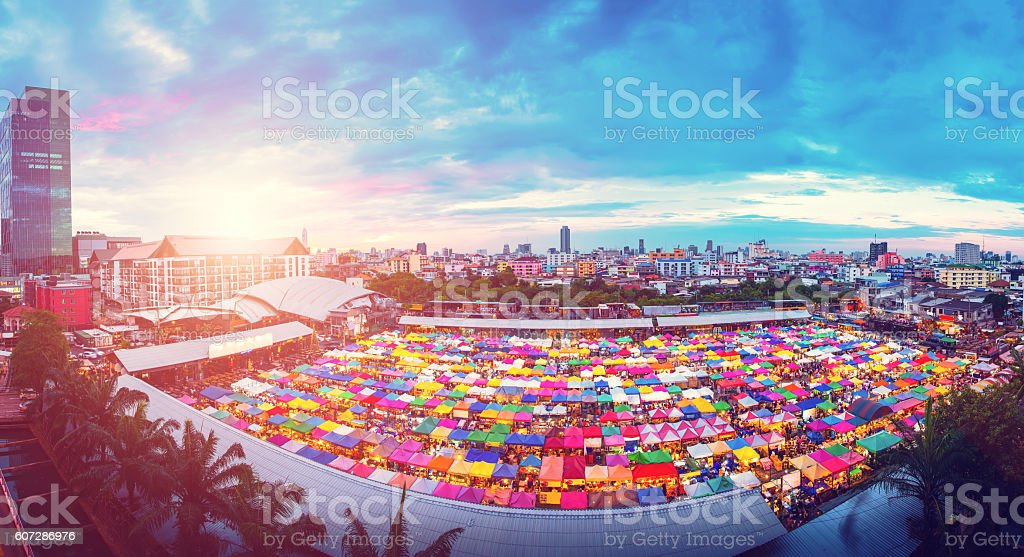Panorama aerial view of Multi-colored tents in Rod-Fai market at stock photo