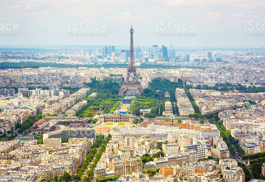 Panorama aerial View on Eiffel Tower in Paris stock photo