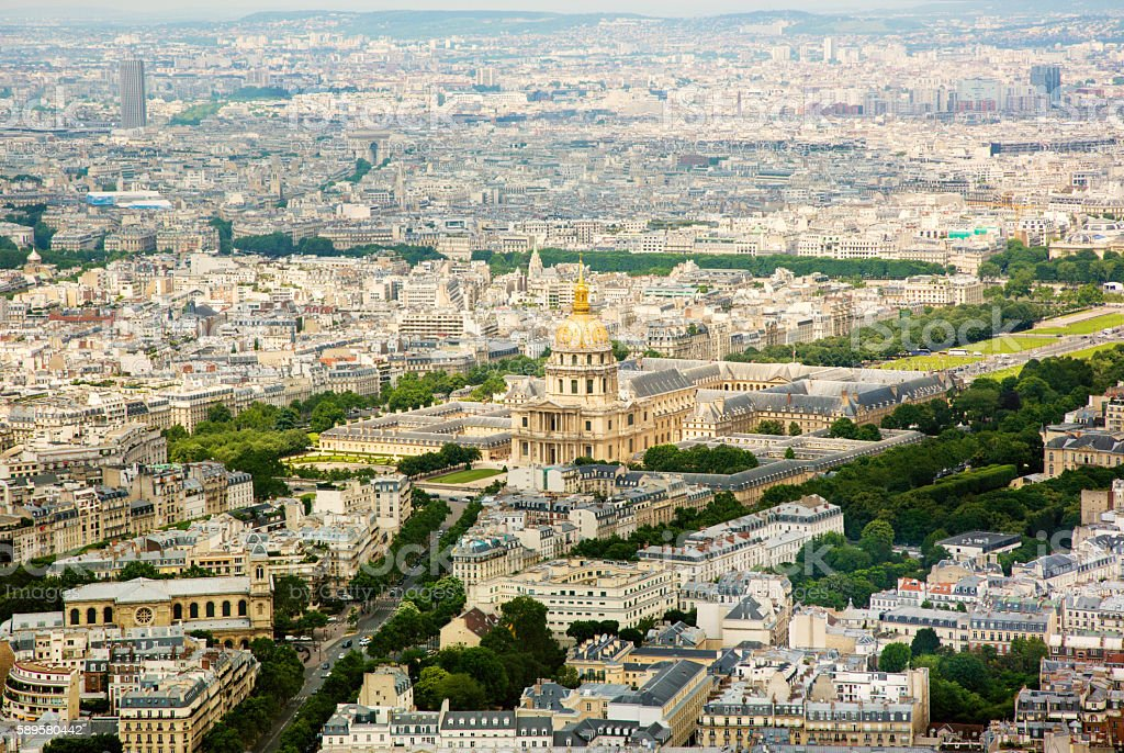 Panorama aerial View on Les Invalides in Paris, FRANCE stock photo