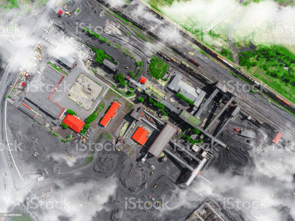 Panorama aerial view shot of coal processing plant, industrial production stock photo