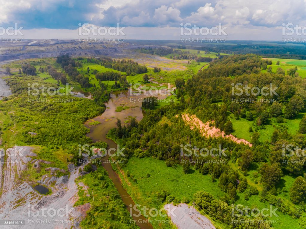 Panorama aerial view shot on in forest, suburb, river, swamp stock photo
