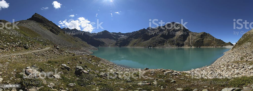 Panorama Alpine Dam Lake Speicher Finstertal, K?htai, Tyrol, Austria royalty-free stock photo