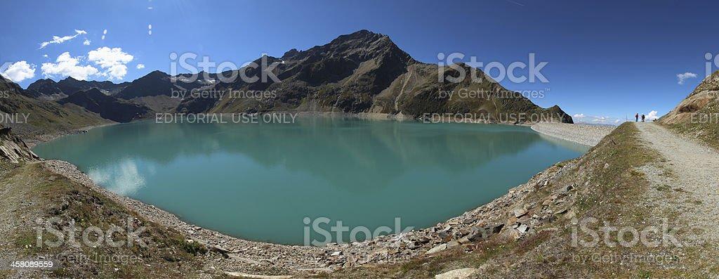 Panorama Alpine Dam Lake Speicher Finstertal, Kühtai, Tyrol, Austria royalty-free stock photo