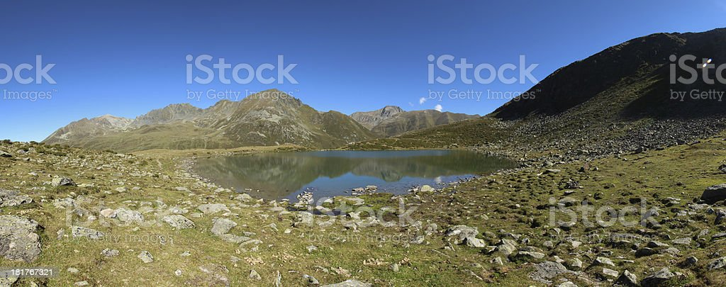 Panorama Alpine Mountain Lake Hirschebensee, Kühtai, Tyrol, Austria royalty-free stock photo