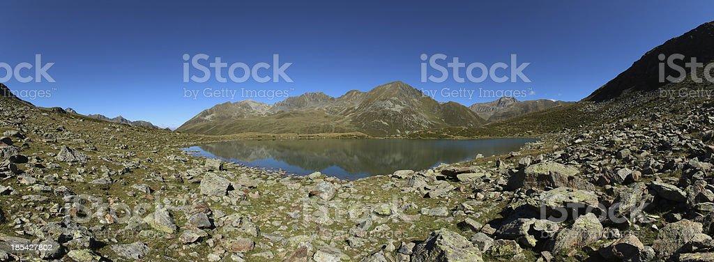 Panorama Alpine Mountain Lake Hirschebensee, K?htai, Tyrol, Austria royalty-free stock photo