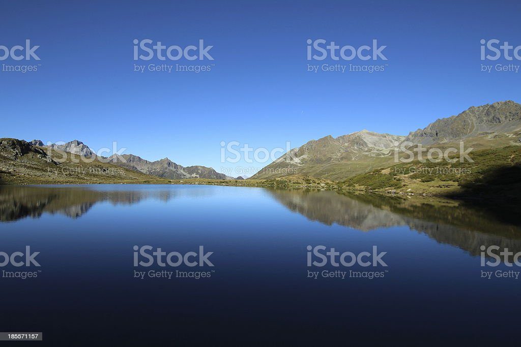 Panorama Alpine Mountain Lake Hirschebensee, K?htai, Tyrol, Austria royalty-free stock photo