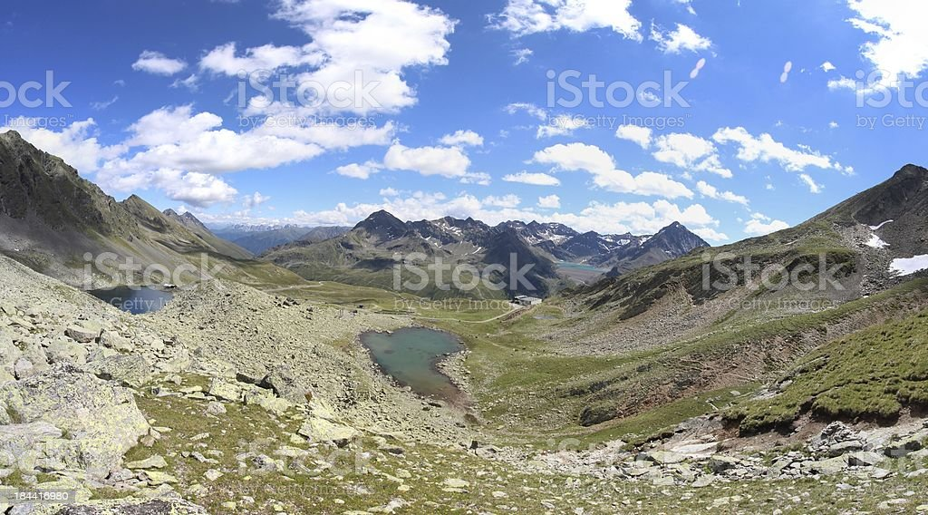 Panorama Alpine Mountain Lakes of Schwarzmoos, K?htai, Tyrol, Austria royalty-free stock photo