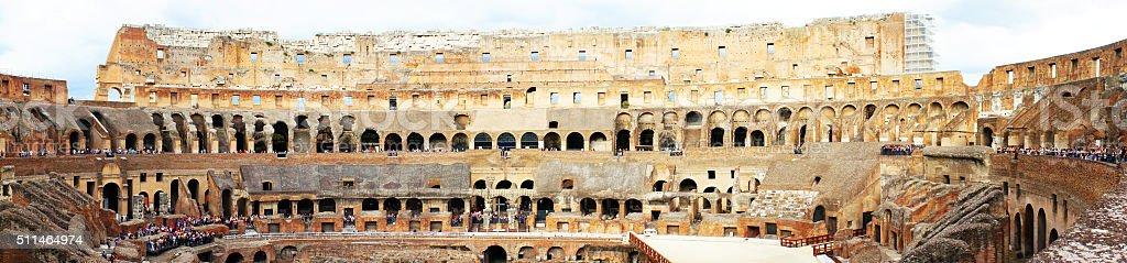 Panorama amphitheatre of the Coliseum Rome stock photo