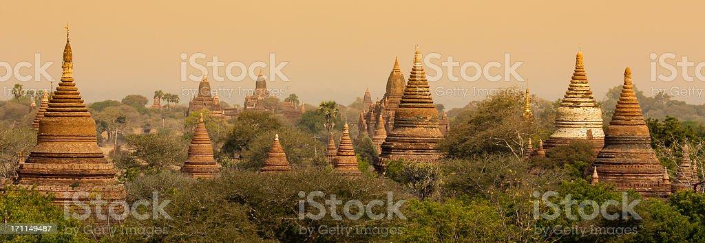 Panorama Ancient Buddhist Pagoda in Bagan, Myanmar (Burma) travel destination stock photo