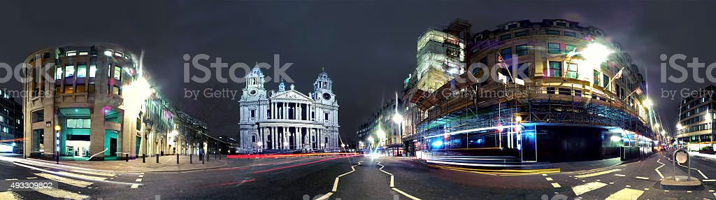 Panorama at night of St Paul's Cathedral stock photo
