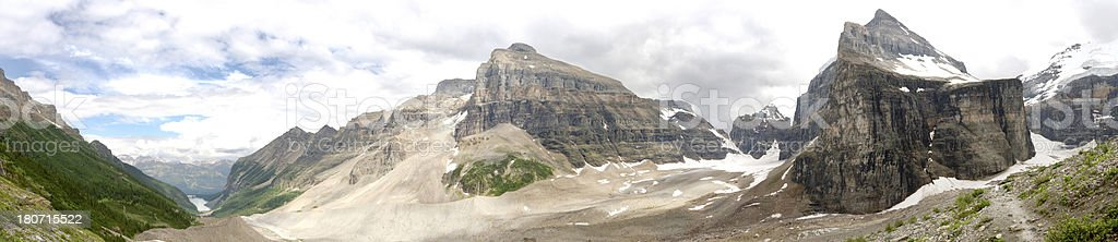 Panorama at Plain of Six Glaciers in Banff National Park stock photo