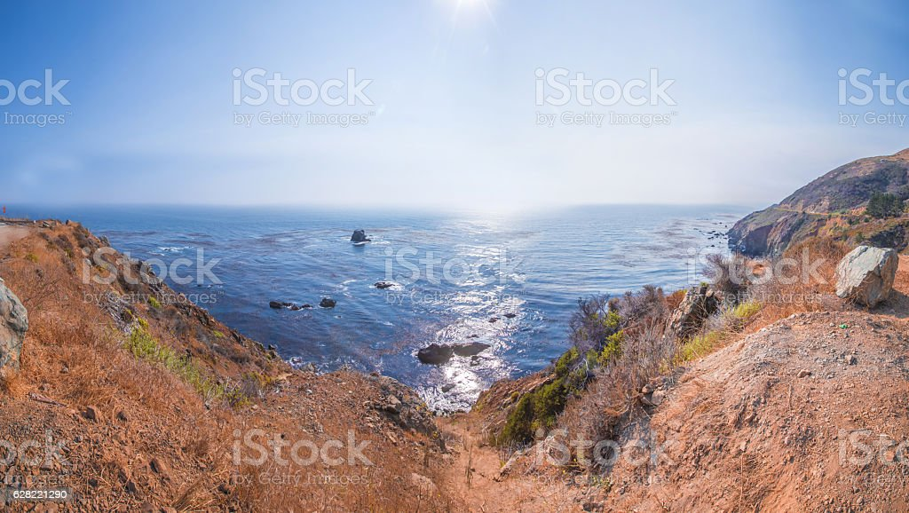 Panorama at the Pacific Coast Highway in California Coastline stock photo