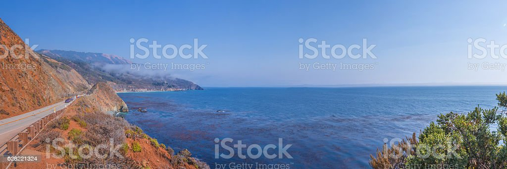Panorama at the Pacific Coast Highway in California Coastline stock photo