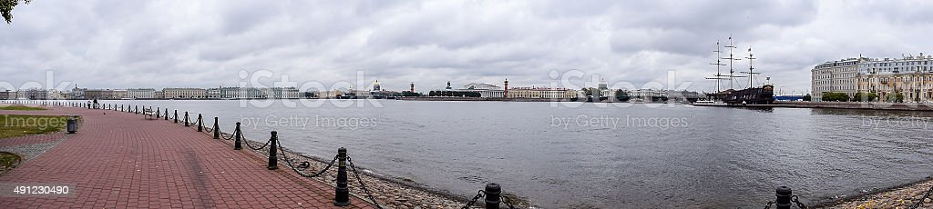Panorama - autumn on the Neva river in St. Petersburg. stock photo