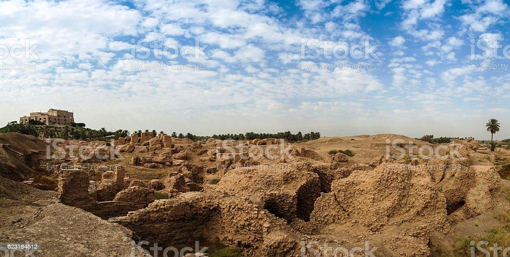 Panorama Babylon and Former Saddam Hussein Palace ruins, Iraq stock photo
