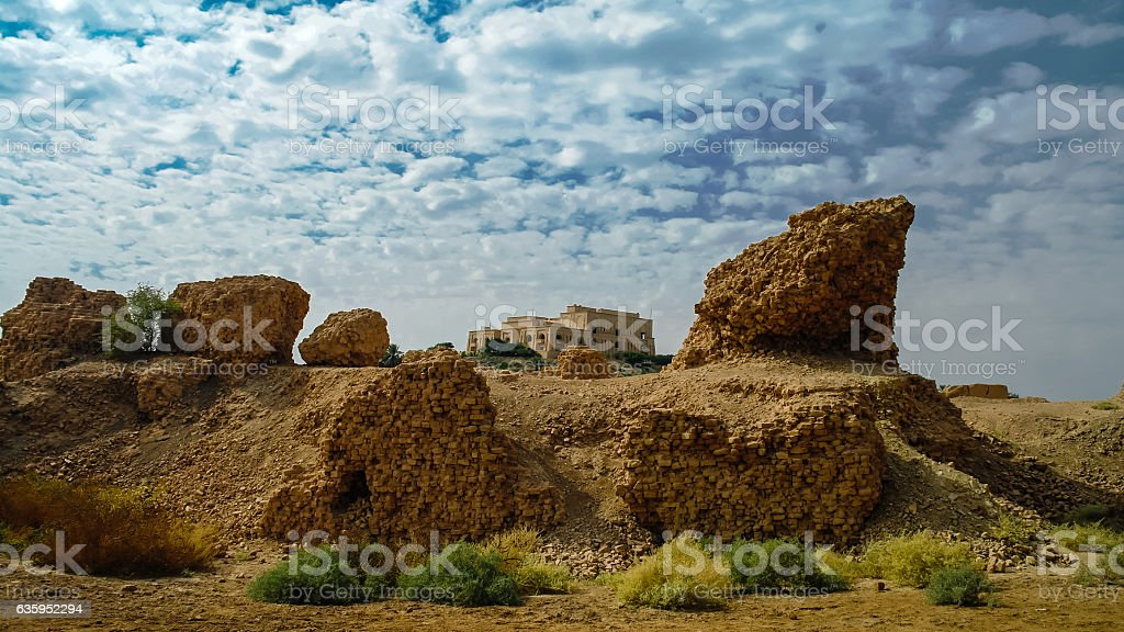 Panorama Babylon ruins and Former Saddam Hussein Palace, Iraq stock photo