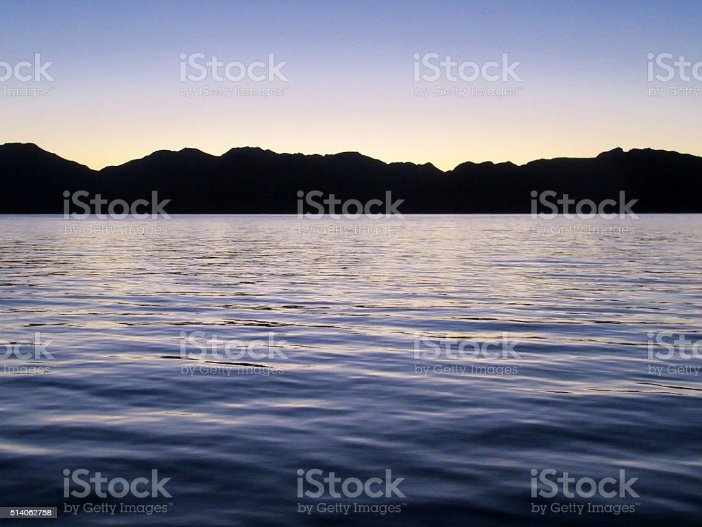 Panorama, Baja Peninsula, Dusk (1 of 2) stock photo